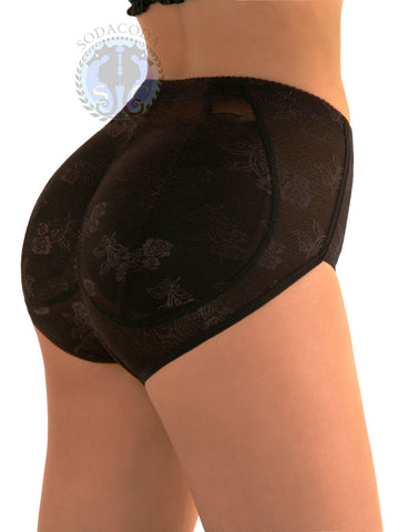 SODACODA Foam Padded Butt Buttocks LACE Pants Brief with Tummy Control - Lowrise to Midrise Style in Nude or Black