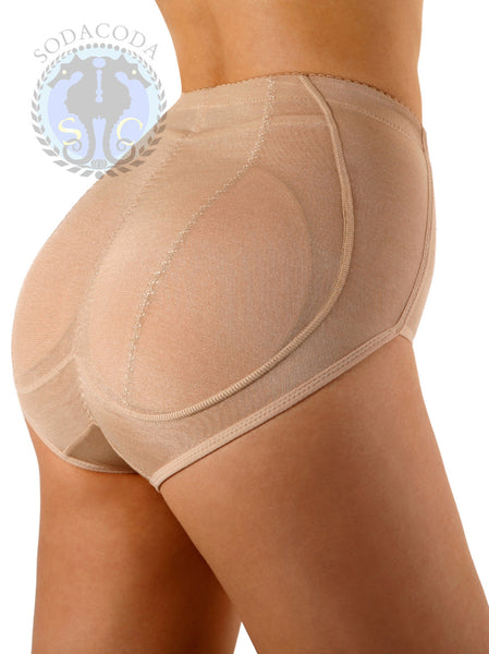 Sodacoda Foam Padded Butt Buttocks Pants Brief with Tummy Control - Lowrise to Midrise Style in Nude or Black