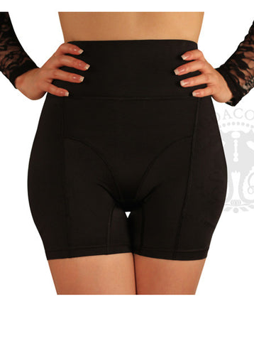 Boyshort Foam Padded Hip and Butt Enhancer with Tummy Control and Waist Cincher Band Lowrise to Midrise Style - Warm, Thick Autumn & Winter Collection - Black
