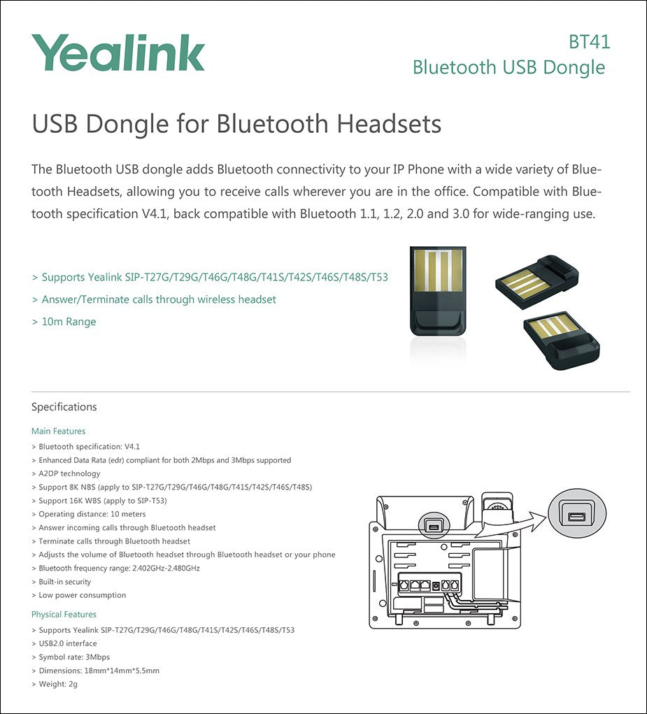 yealink bt41 bluetooth headset usb dongle