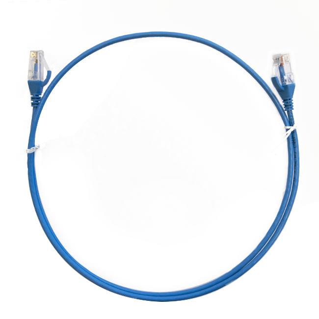 0.15m Cat 6 RJ45 RJ45 Ultra Thin LSZH Network Cables : Blue