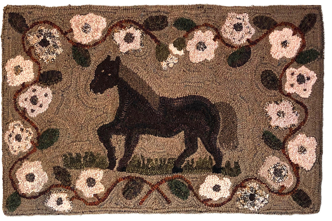 Folky Horse in Posey Border (#8)