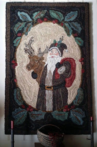 Santa and Friend with Primitive Holly Twig Border (#34)