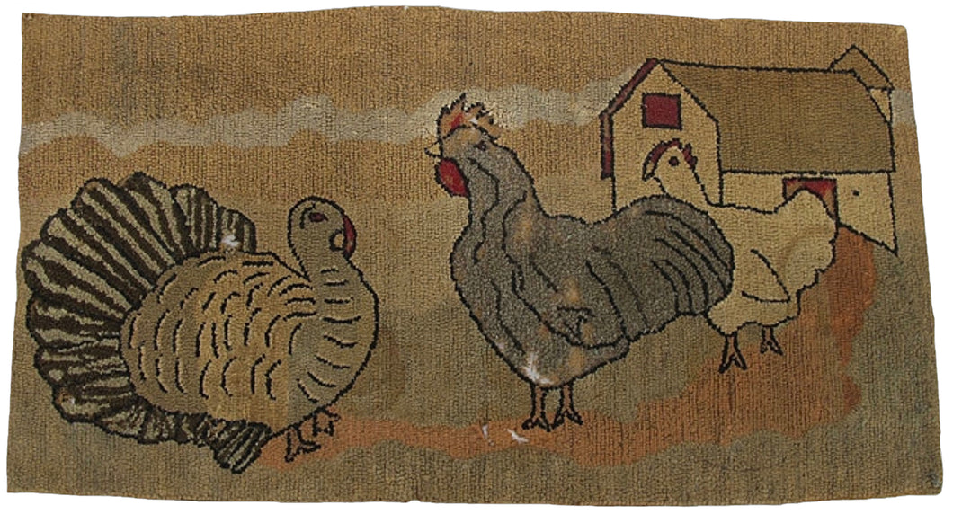 Turkey, Rooster and Hen in Barnyard (#520)