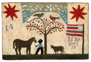 Groom and Horse with Flags and Stars (#444)