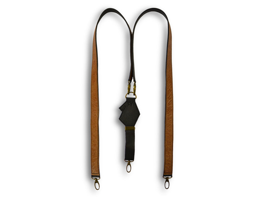 Uljas reversible leather suspenders rustic cognac-black