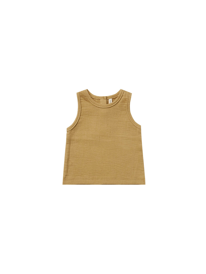 Quincy Mae Gold Woven Tank