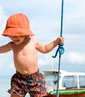 Little Fella - Orange Frayed Bucket Hat