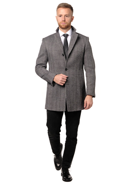 Grey Herringbone Overcoat