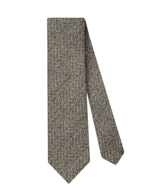 GREY-BROWN WOOL HERRINGBONE TIE - edwingjsons