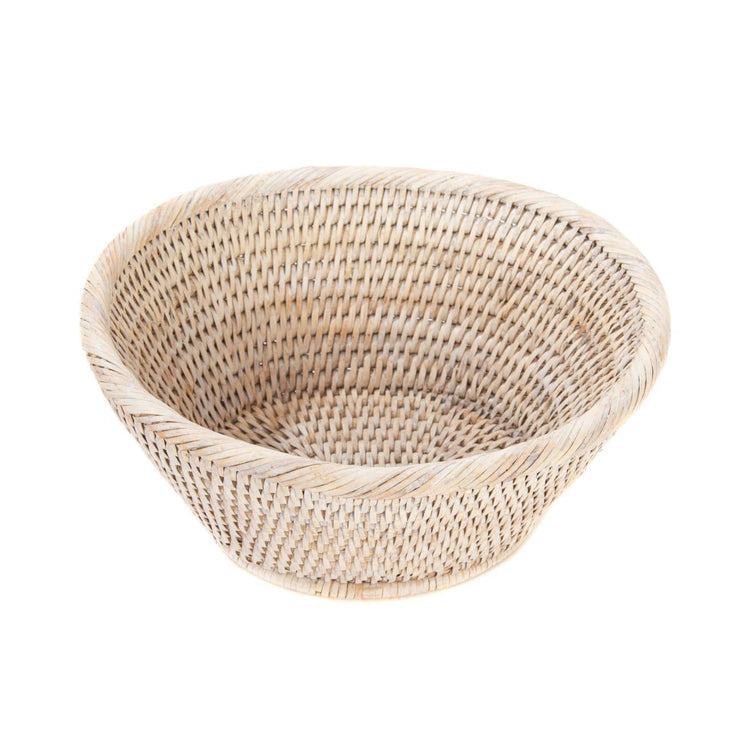 Rattan Oval Basket - White Washed