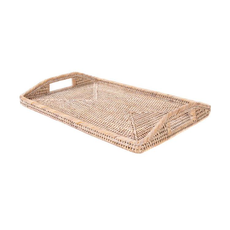 Rattan Rectangular Tray - White Washed