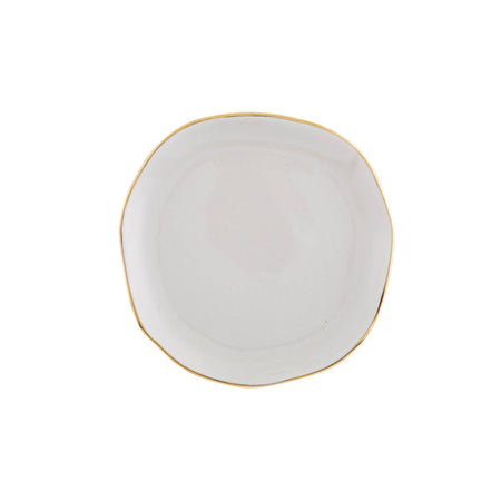 Ceramic Dish with Gold Rim - Grey