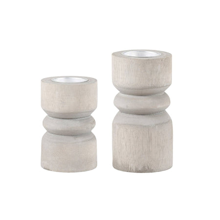 Paulownia Candle Holder - Grey