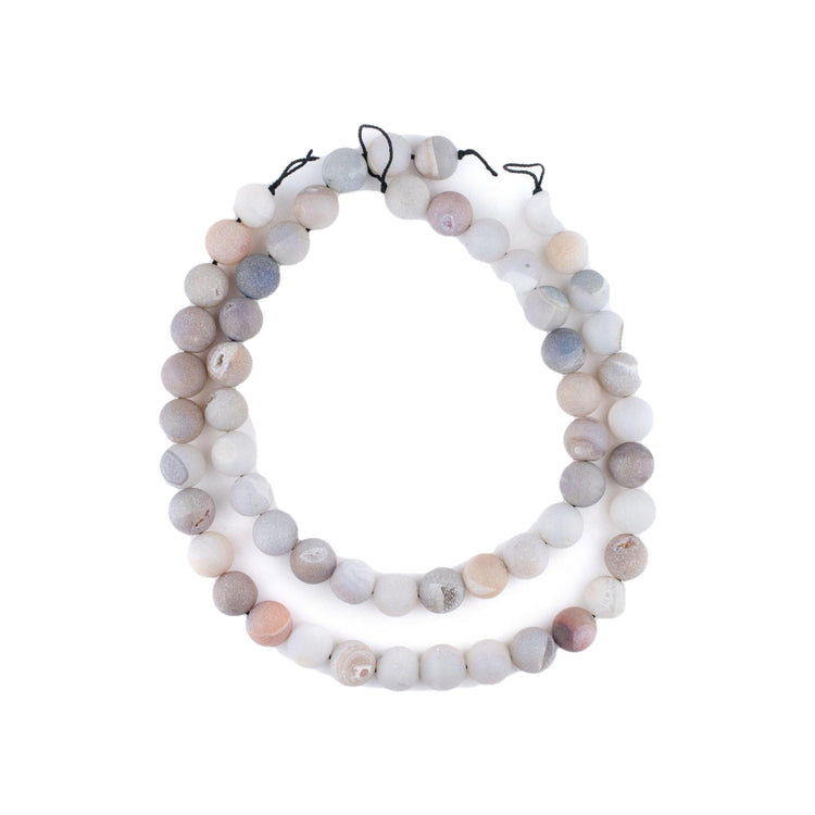 Pearl Round Druzy Agate Beads