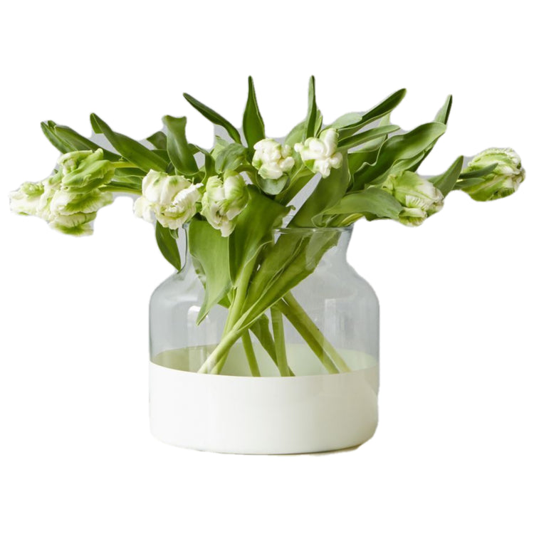 White Colorblock Flower Vase