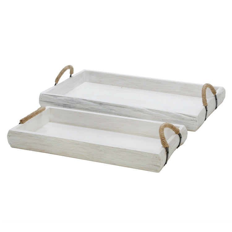White Wash Wood Tray Set