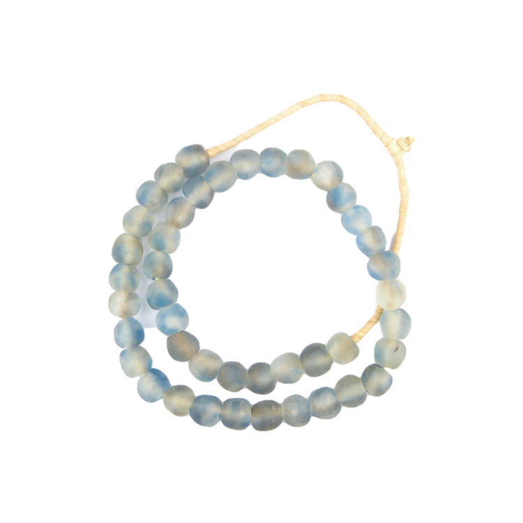 Blue Grey Mist Recycled Glass Beads