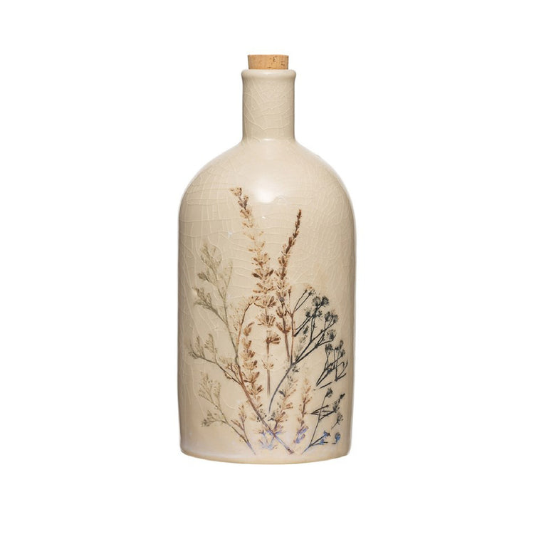 Stoneware Floral Bottle