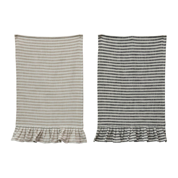 Striped Tea Towels w/ Ruffle