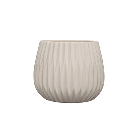 White Fluted Pot