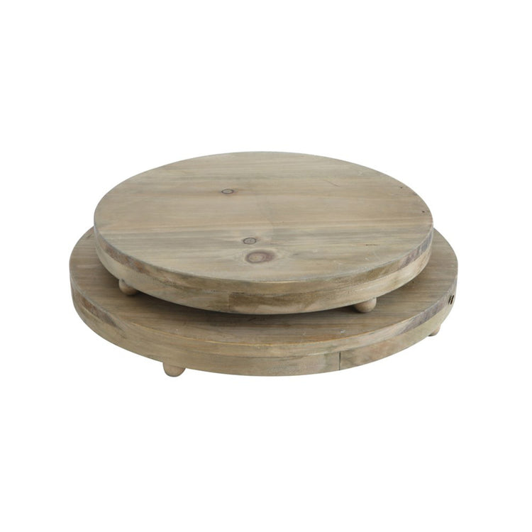 Wood Pedestal Tray Set