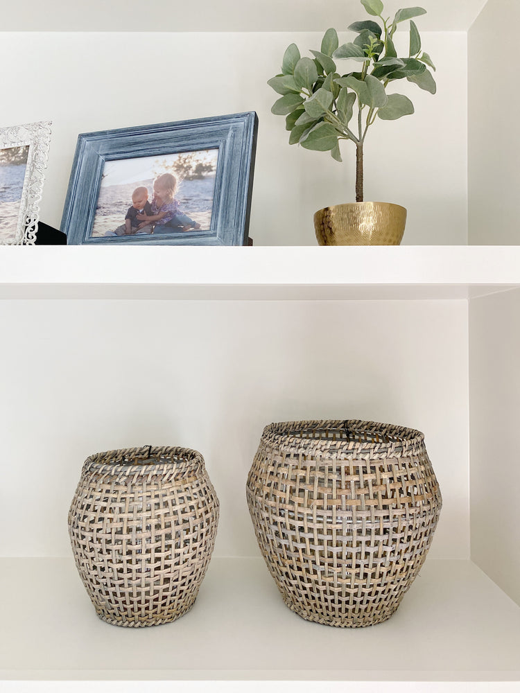 Woven Rattan Lantern, Grey Finish