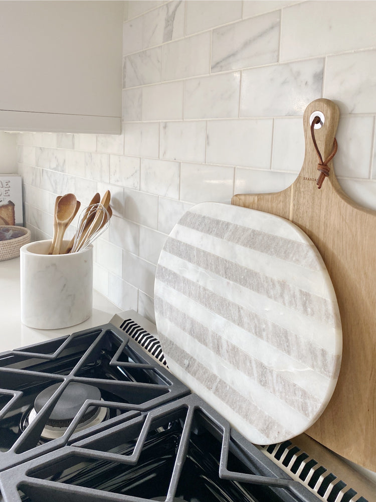Striped Oval Marble Cutting Board