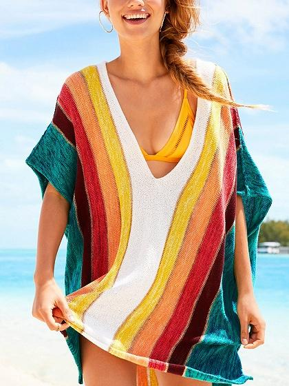 Polychrome Cotton V-neck Rainbow Print Split Side Chic Women Blouse