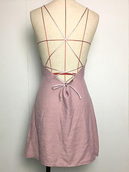 Pink Cotton Lace Up Open Back Chic Women Cami Mini Dress