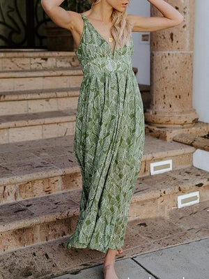 Green V-neck Leaf Print Buckle Strap Chic Women Maxi Dress