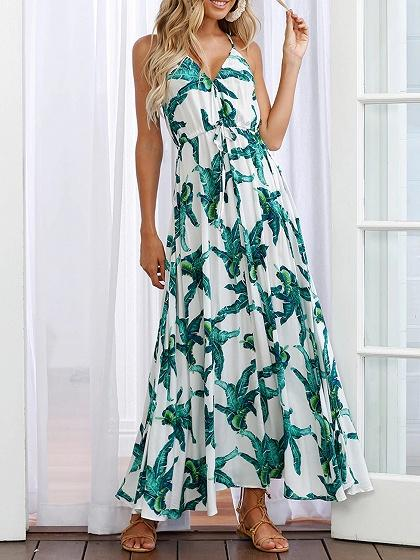 Green Cotton V-neck Plantain Leaf Print Chic Women Cami Maxi Dress