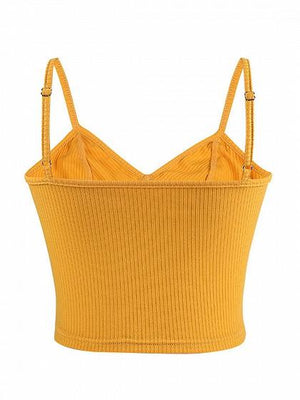 Yellow Women Crop Cami Top Ribbed V-neck