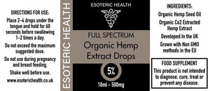 CBD Cannabidiol Oil Drops 5% - 500mg - 10ml  Esoteric Health Label