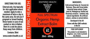 CBD Cannabidiol Oil Balm 6% - 600mg - 30ml Esoteric Health Label