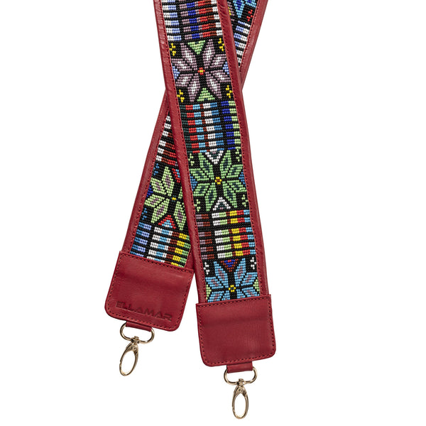 Mexico Strap - red/gold/glass beads