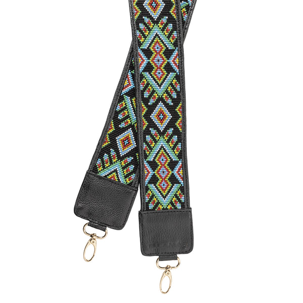 Mexico Strap - black/gold/glass beads