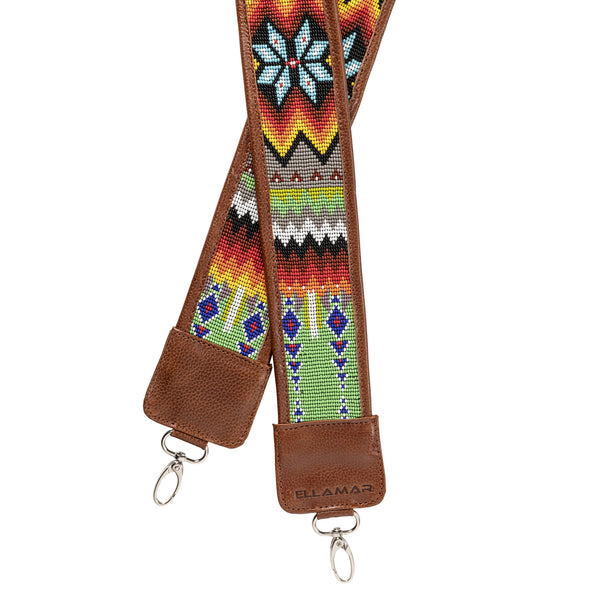 Mexico Strap - brown/silver/glass beads