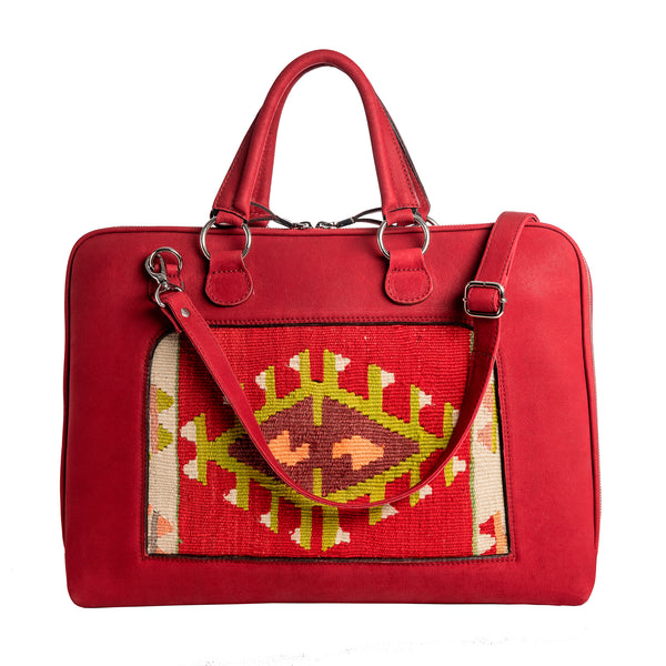 Buenos Aires - red leather/kilim