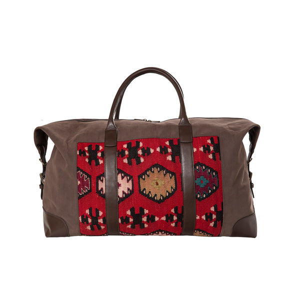 Travelbag - dark brown textile/kelim