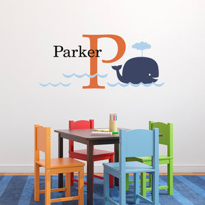 Big Whale Decal Set with Initial & Name - Kids Wall Decal - Personalized Wall Sticker - Whale Decor - Medium