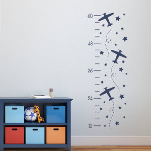 Airplane Growth Chart Decal - Plane Decor - Wall Decals for Kids
