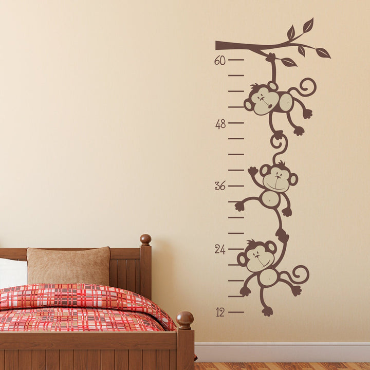 Monkey Growth Chart Decal - Silly Monkeys Wall Decor - Growth Chart Wall Decal - Kids Bedroom Decor