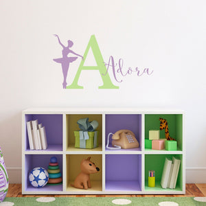 "Ballerina Decal Set with Initial and Name - Personalized Name Wall Decal - Ballerina Girl Bedroom Decor - Medium 16"" Initial"