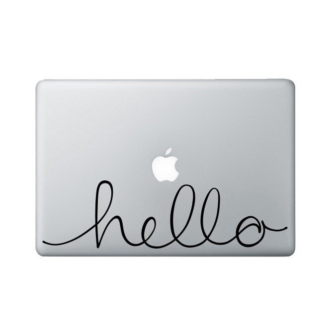 Hello Macbook Decal - Handwritten script Laptop Decal - hello script Laptop Sticker