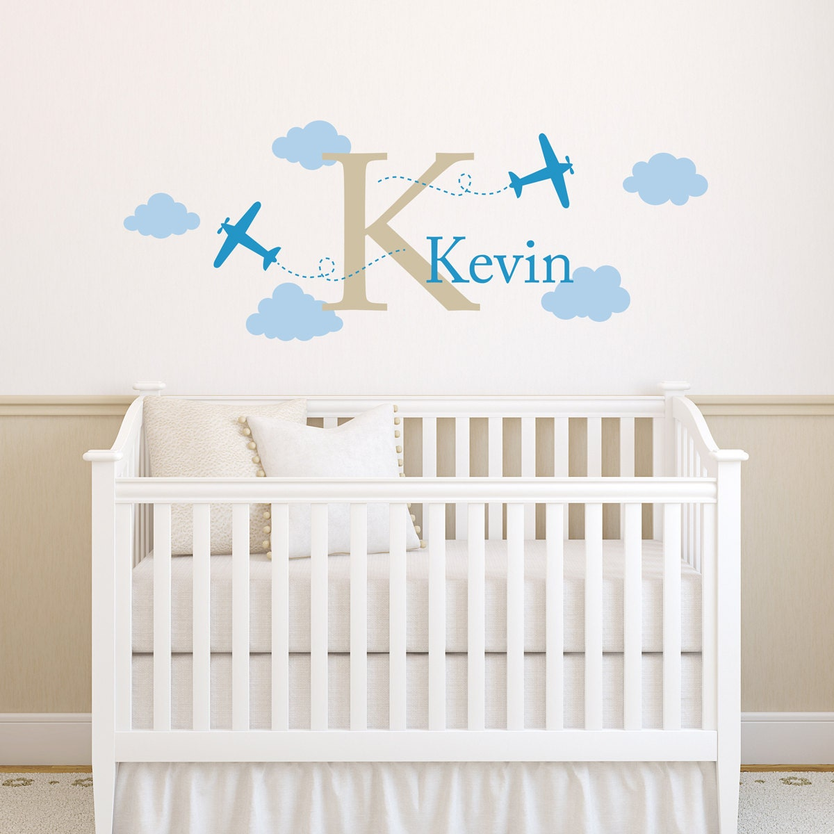 Airplane Wall Decal with Initial and Name - Boy Name Decal - Plane Wall  Sticker - Boy Bedroom Decor - Medium