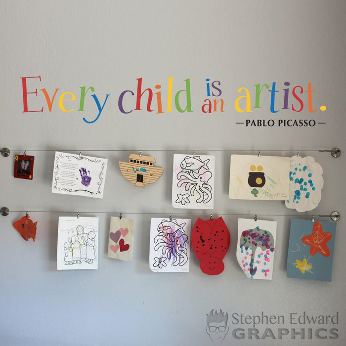 Every Child is an Artist Wall Sticker - Children Artwork Display Decal - Picasso Quote - Printed Rainbow Decal - Multiple sizes available