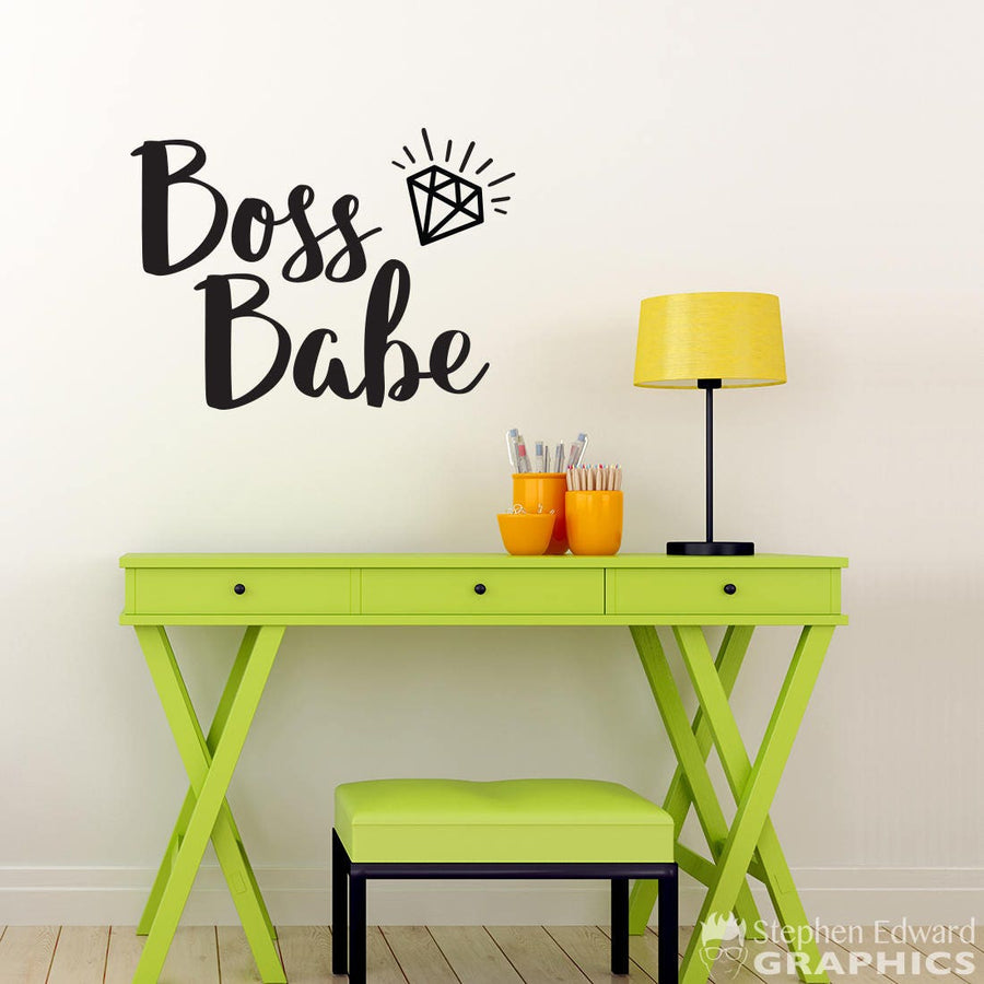 Boss Babe with Diamond Decal - Office Decor - Diamond Sticker Wall Art