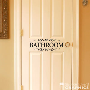 Bathroom Decal - Door Sticker - Bathroom with scrolls Wall Decal - Bathroom Decor