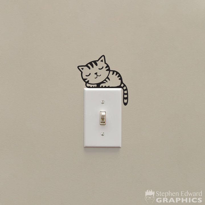 Cat Light Switch Decal - Lightswitch Sleeping Kitten Decal - Light Switch Cover decor